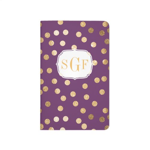 Violet Purple and Gold Glitter Dots Monogram Journals