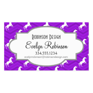 Violet Purple and White Horse Chevron Pattern Business Card Templates