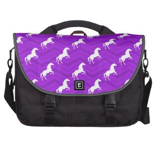Violet Purple and White Horse Chevron Pattern Laptop Bags