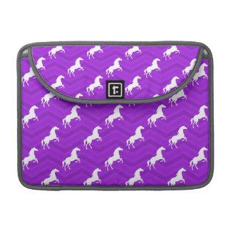 Violet Purple and White Horse Chevron Pattern MacBook Pro Sleeve