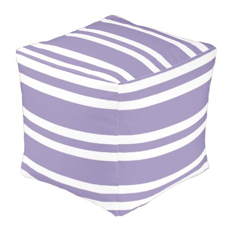 Violet Purple and White Stripes Pouf