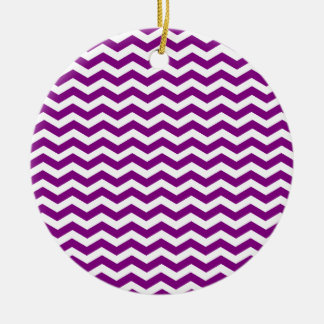 Violet Purple And White Zigzag Chevron Pattern Ceramic Ornament