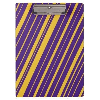 Violet Purple and Yellow Diagonal Stripes Clipboards