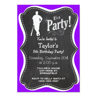 "Violet Purple Baseball, Softball 5"" X 7"" Invitation Card"
