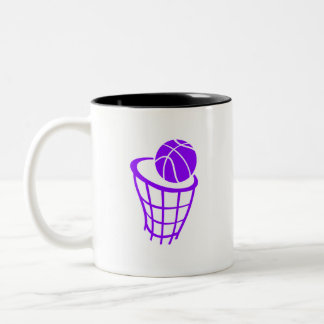 Violet Purple Basketball Two-Tone Coffee Mug