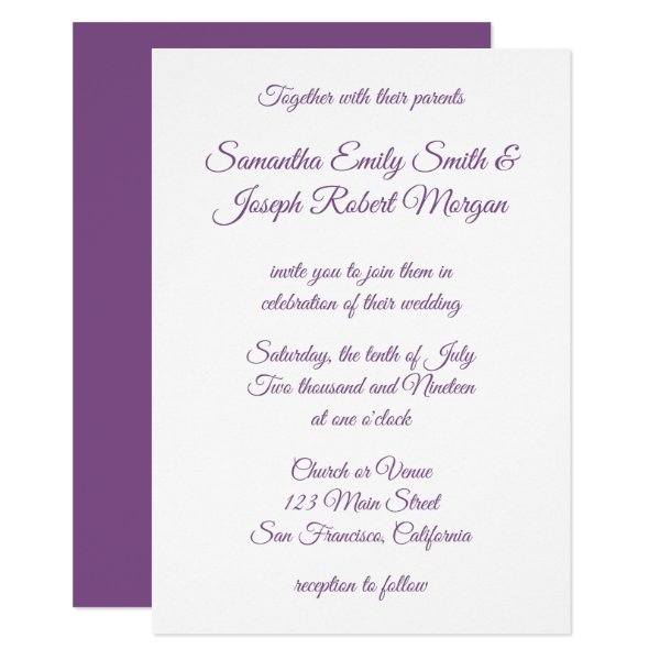 Violet Purple Calligraphy Card