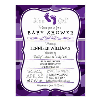 Violet Purple Camo, Camouflage Baby Shower Postcard