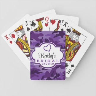Violet Purple Camo, Camouflage Bridal Shower Card Deck