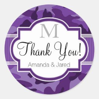 Violet Purple Camo, Camouflage Wedding Classic Round Sticker