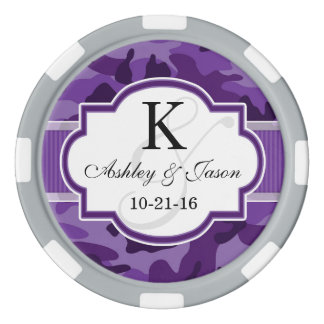 Violet Purple Camo, Camouflage Wedding Poker Chips