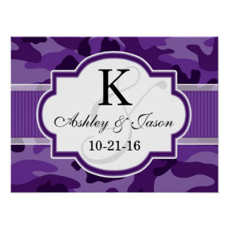 Violet Purple Camo, Camouflage Wedding Print