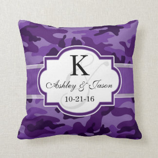 Violet Purple Camo, Camouflage Wedding Throw Pillow