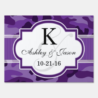 Violet Purple Camo, Camouflage Wedding Lawn Signs
