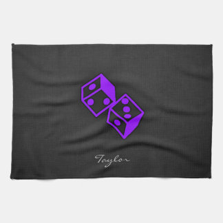 Violet Purple Casino Dice Hand Towels