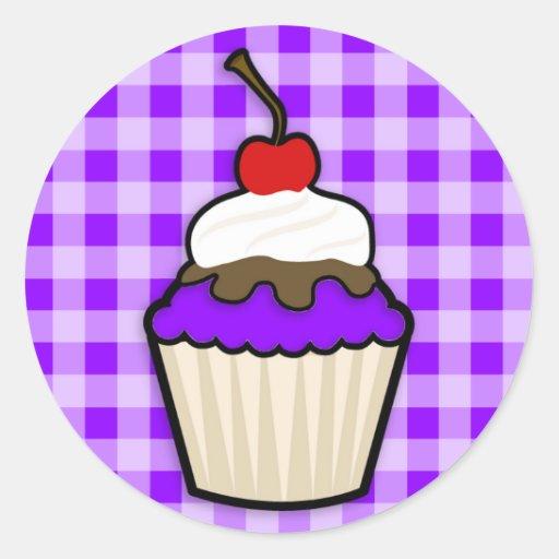 Violet Purple Cupcake Round Sticker