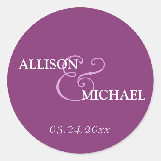 Violet purple custom ampersand wedding favor label