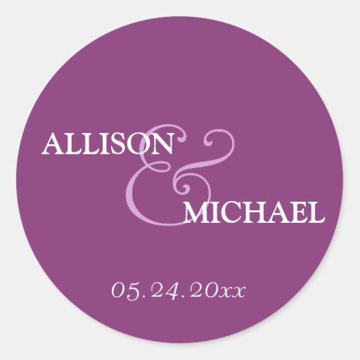 Violet purple custom ampersand wedding favor label round sticker