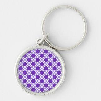 Violet purple dots and light indigo squares retro keychain