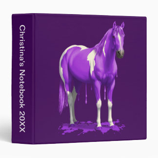Violet Purple Dripping Wet Paint Horse 3 Ring Binder