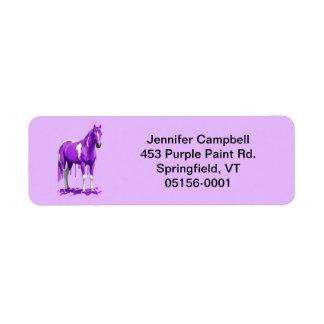 Violet Purple Dripping Wet Paint Horse Label