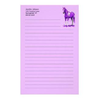 Violet Purple Dripping Wet Paint Horse Stationery