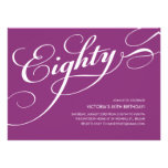 Violet Purple Elegant 80th Birthday Invitations