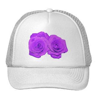 """Violet/Purple """"Enameled"""" Roses Hat"""