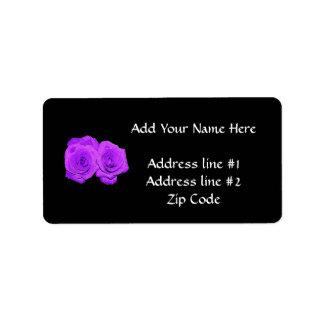 "Violet/Purple ""Enameled"" Roses Personalized Address Labels"