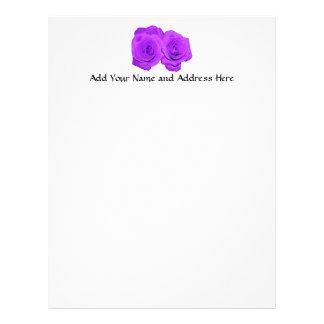 "Violet/Purple ""Enameled"" Roses Letterhead"