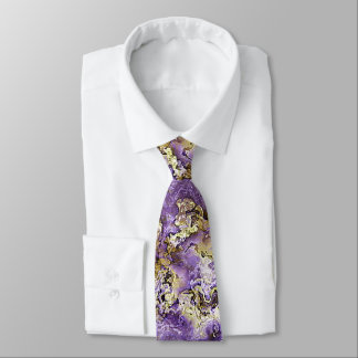 Violet Purple Faux Gold Minerals Agate Pattern Tie