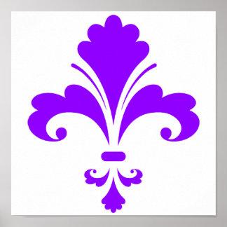 Violet Purple Fleur-de-lis Poster