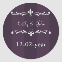 Violet Purple fleur de lis Wedding Design Classic Round Sticker