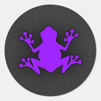 Violet Purple Frog Round Sticker