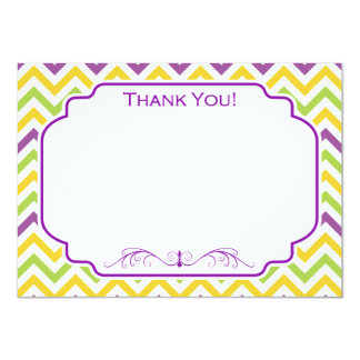 Violet Purple, Green, and Yellow Chevron Stripes Card