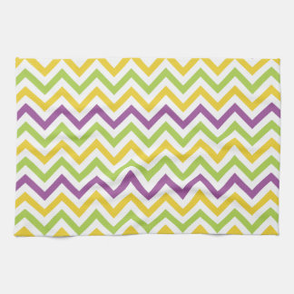 Violet Purple, Green, and Yellow Chevron Stripes Towels