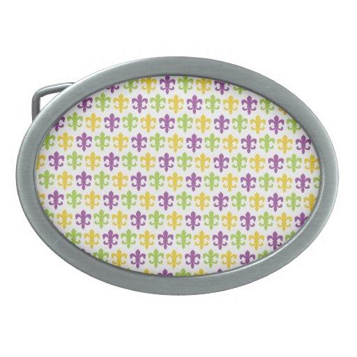 Violet Purple, Green, and Yellow Fleur-de-lis Belt Buckle