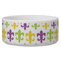 Violet Purple, Green, and Yellow Fleur-de-lis Bowl