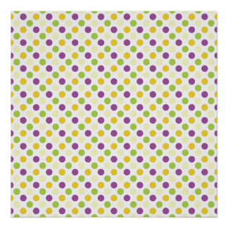 Violet Purple, Green, and Yellow Polks Dots Poster