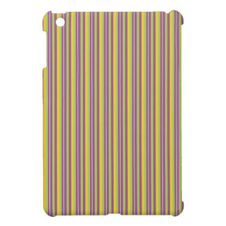 Violet Purple, Green, and Yellow Stripes iPad Mini Case