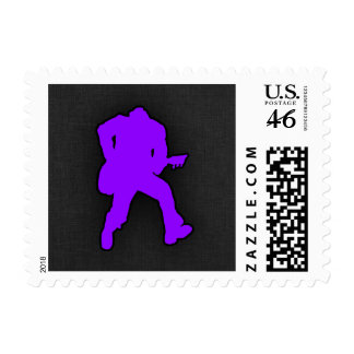 Violet Purple Guitar Player Stamp
