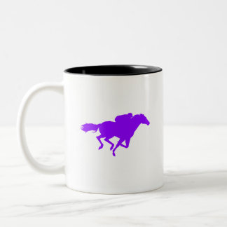 Violet Purple Horse Racing Two-Tone Coffee Mug