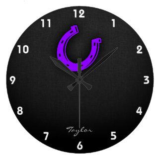 Violet Purple Horse shoe Large Clock