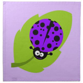 Violet Purple Ladybug Cloth Napkin