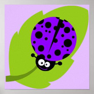 Violet Purple Ladybug Poster