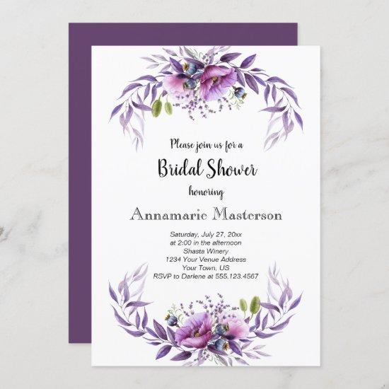 Violet Purple Lavender Floral Bridal Shower Invitation