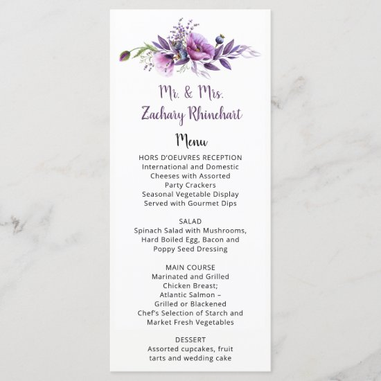 Violet Purple Lavender Floral Guest Name | Menu