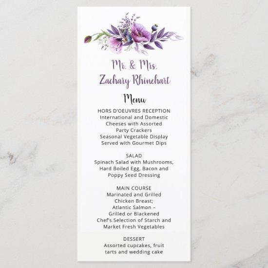 Violet Purple Lavender Floral Guest Name | Menu