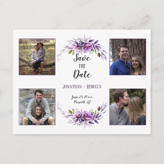 Violet Purple Lavender Floral Photo Save The Date Announcement Postcard