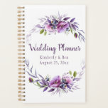 "Violet Purple Lavender Floral Wedding Planner<br><div class=""desc"">Perfect for planning your special day. Beautiful rustic watercolor wildflowers in purple,  violet,  and lavender with dusty purple leaves and other greenery frame your name,  date and other details. Personalize with your own information.</div>"