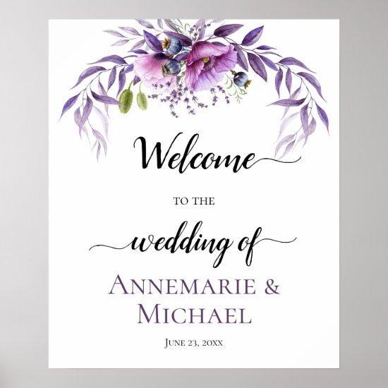 Violet Purple Lavender Floral Wedding Sign